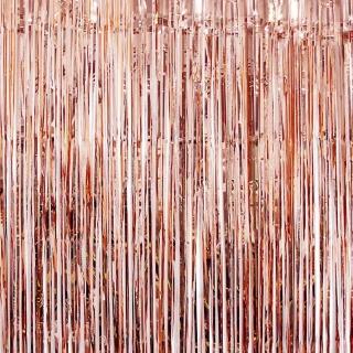 Ресни за декорация  /ПВЦ/ лъскави, цвят розово злато 100х220см