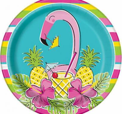 Хартиена парти чинийка Фламинго  с ананас тропическо парти 23 см / Hawaiian Tropical Summer Pineapple & Flamingo, 8 бр. в опаковка