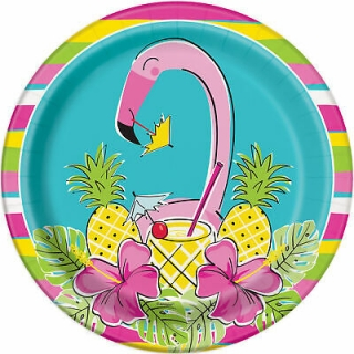 Хартиена парти чинийка Фламинго  с ананас тропическо парти 23 см / Hawaiian Tropical Summer Pineapple & Flamingo