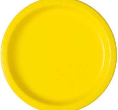 Хартиена парти чинийка жълта неон, 23 см, 16 бр. в опаковка