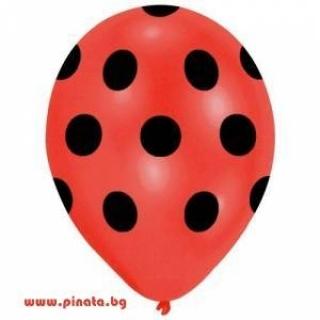 Балон червен на черни точки, диаметър 30 см, 5 бр. в пакет