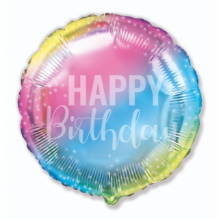 Фолиев балон цвят дъга пастелни цветове с текст Happy Birthday, 40 см, Flexmetal /Gd/