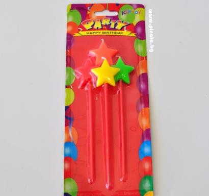 Свещички за рожден ден звезди, 4 цвята