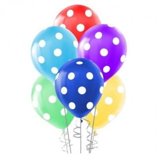 Балони различни цветове на бели точки, диаметър 30 см, 5 бр. в пакет