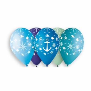 Комплект 5 бр. премиум балони с печат Морско дъно, котва, микс цветове Gemar /Gd/