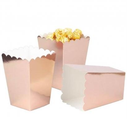 Кутийки за пуканки или сладки цвят розово злато металик, 8 бр. в пакет
