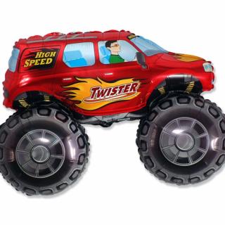Фолиев балон Гигантски Джип  Кола  цвят червен / Car Twister 96 см, Flexmetal /Gd/