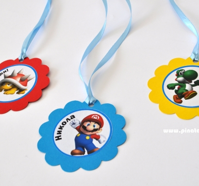 Персонализиран парти медальон Супер Марио, 5бр. пакет