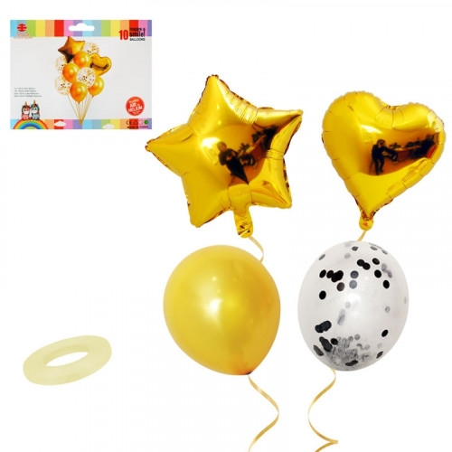 Комплект златни фолиеви балони Звезда и Сърце и прозрачни латексови с конфети, 10 броя