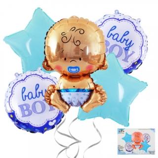 Комплект 5 бр. фолиеви балони Бебе Момче / It's a Boy