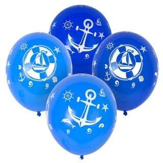 Комплект 15 бр. балони с щампа котва кораб, 30 см диаметър светло синьо и тъмно синьо