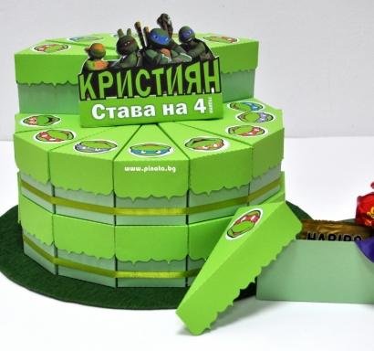 Хартиена торта с тематична декорация и персонализация Костенурките Нинджа
