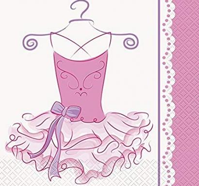 Парти салфетки розова Балерина 16 бр в пакет, Pink Ballerina