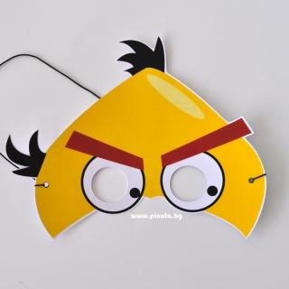 Парти маска Енгри Бърдс Чък - жълто пиле