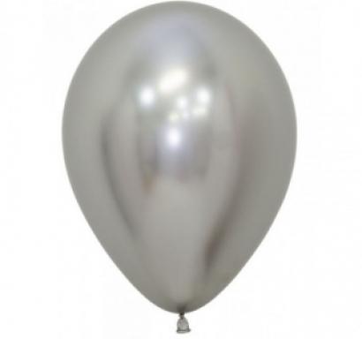 Балон хром сребро, диаметър 13 см, 10 бр в пакет