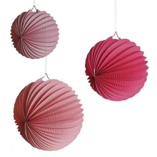 Висяща декорация - 3 бр. розови хартиени топки, различни размери