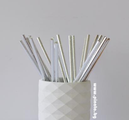 Сламки сребърни металик еко, 25 бр опаковка