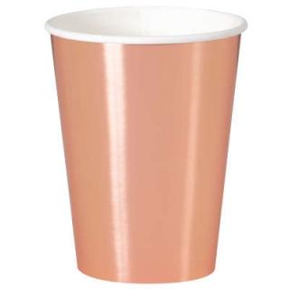 Хартиена парти чашка розово злато / Rose Gold, 355 мл, 8 бр. в опаковка
