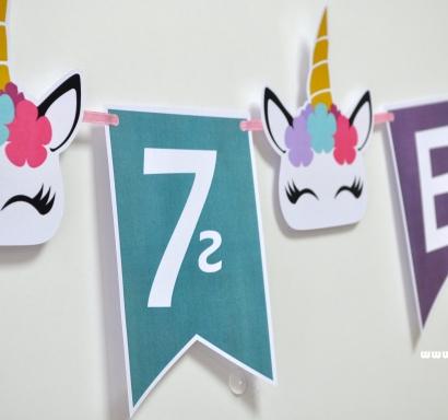 Персонализиран банер Честит Рожден Ден Еднорог, с включени 2 бр. фигури бонус