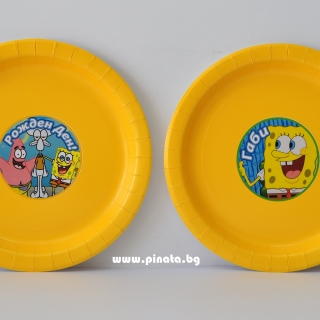 Персонализирана хартиена парти чинийка Спонджбоб