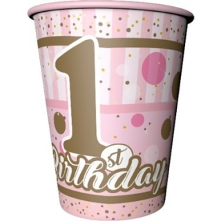 Хартиена парти чашка Първи рожден ден Момиче / First Birthday, 8 бр. в опаковка