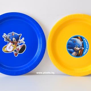 Персонализирана хартиена парти чинийка Соник