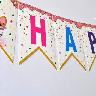 Банер комплект Еднорог Честит Рожден Ден / Happy Birthday, 16 флагчета