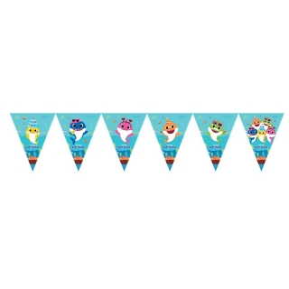 Банер гирлянд за декорация Бейби Шарк, 11 флагчета, 3,20 м дължина