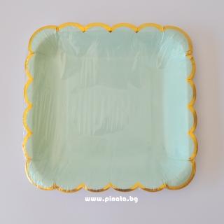 Хартиена парти чинийка цвят мента със златен кант, 23х23см 10 бр. в опаковка