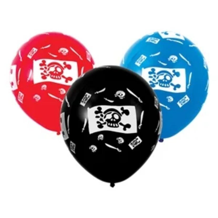 Комплект 10 бр. латексови балони с печат Пират, череп, микс цветове