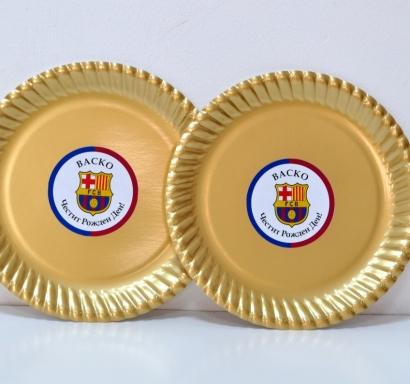 Персонализирана хартиена парти чинийка Барселона златна