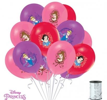 Балон с печат Дисни Принцеси, диаметър 30 см, 5 бр. в пакет микс, лицензирани