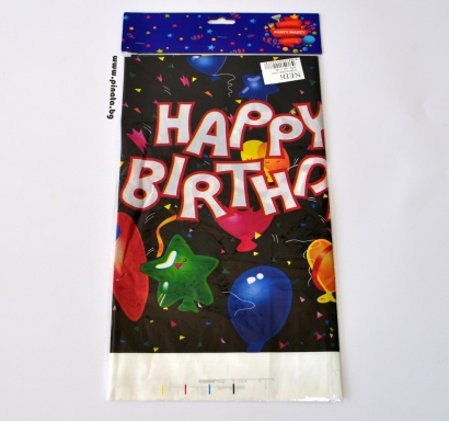 Парти покривка Happy Birthday, черна с цветни надписи 108х180 см