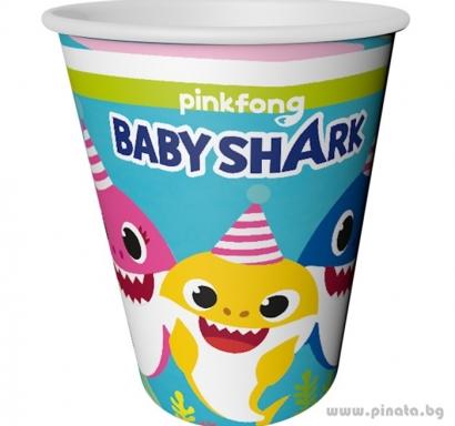 Хартиена парти чашка Бейби Шарк / Baby Shark, 8 бр. в опаковка