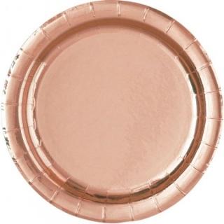 Хартиена парти чинийка розголд, розово злато 23 см, 6бр. в пакет