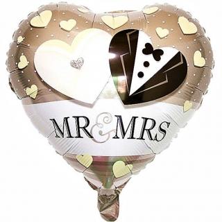 Фолиев балон Господин и Госпожа Младоженци / Mr and Mrs, 38х34см, форма сърце
