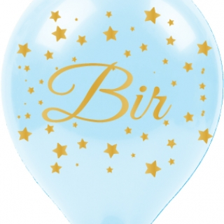 Балон с златен печат 1 година Bir Yas, диаметър 30 см, 5 бр. в пакет бебешко синьо