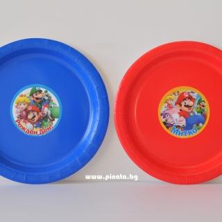 Персонализирана хартиена парти чинийка Супер Марио, 5бр. пакет