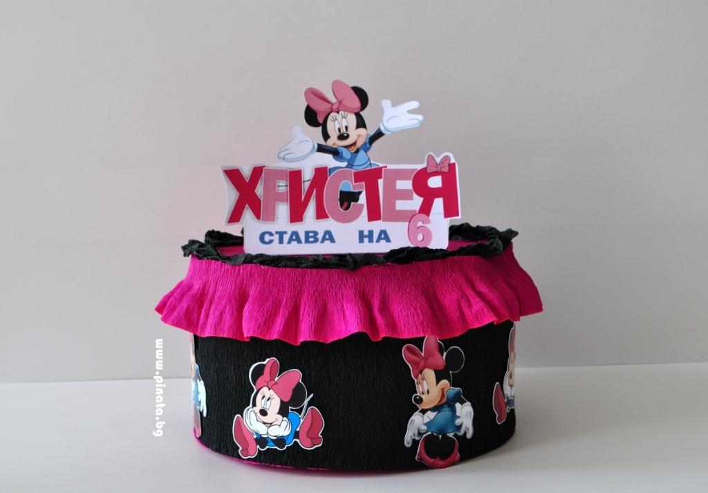 Хартиена торта  - кутия с тематична декорация Мини Маус
