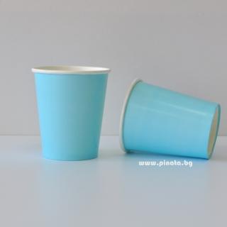 Хартиена парти чашка, 240 мл светло синя