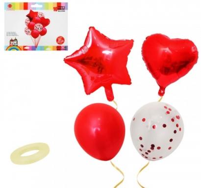 Комплект червени фолиеви балони Звезда и Сърце и прозрачни латексови с конфети, 10 броя