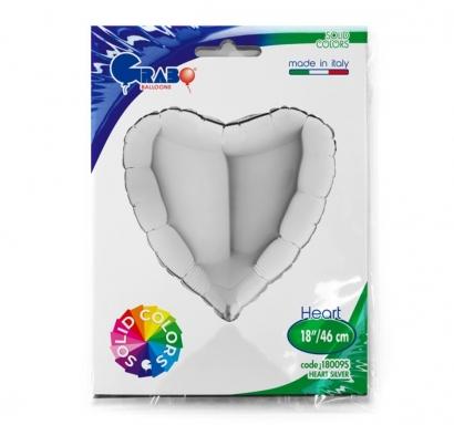 Фолиев балон Сърце, цвят сребро 46 см  /18