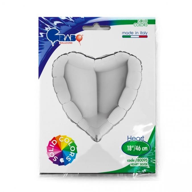 """Фолиев балон Сърце, цвят сребро 46 см  /18""""/"""