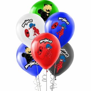 Балон с печат Калинката и Черния Котарак, диаметър 30 см, 5 бр. в пакет, лицензирани