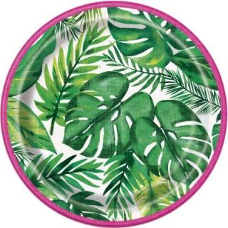 Хартиена парти чинийка Хавайско тропическо парти 18 см / Palm Tropical Luau, 8 бр. в опаковка