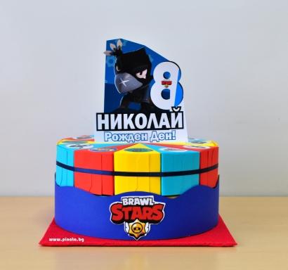 Хартиена торта с тематична декорация и персонализация Крол Брол Старс