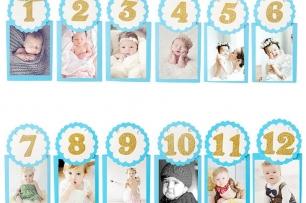 Фото банер комплект за Първи рожден ден, в синьо със сребърни букви брокат