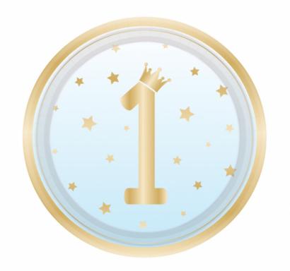 Хартиена парти чинийка  Първи рожден ден момче цвят син омбре / First Birthday, 23 см. диаметър, 8 бр. в опаковка Amscan /Gd/
