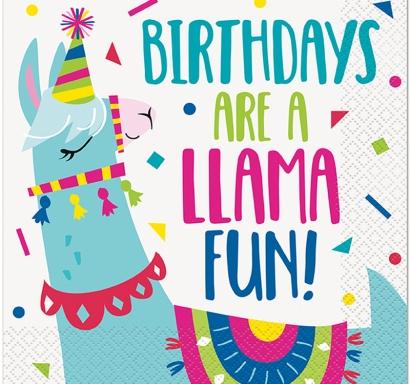Парти салфетки Лама Рожден Ден 16 бр в пакет, Birthday Llama