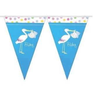 Банер гирлянд за декорация Честито Бебе Момче, 10 флагчета, 2,00 м дължина